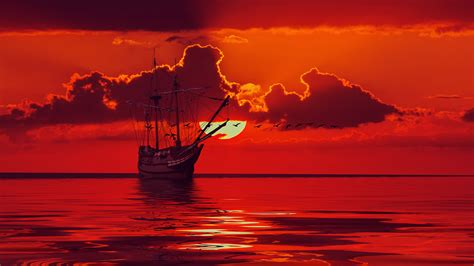 Images Sun Red Sea 3d Graphics Sky Ships Sailing Clouds