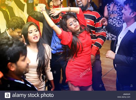 People Dancing And Enjoying Dj Party At Picasso Restaurant In Dhaka Stock Photo
