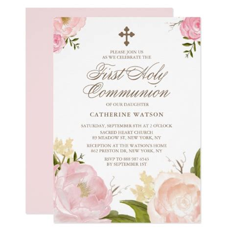 Watercolor Pink Peonies First Holy Communion Invitation