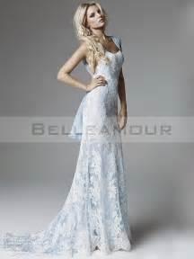 robe mariage dentelle robe de mariée dentelle blanc bleu longue sirène mousseline traîne courte