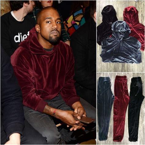 hip hop solid velvet hooded hoodie sweatpants mens pullover sweatshirts kanye west style