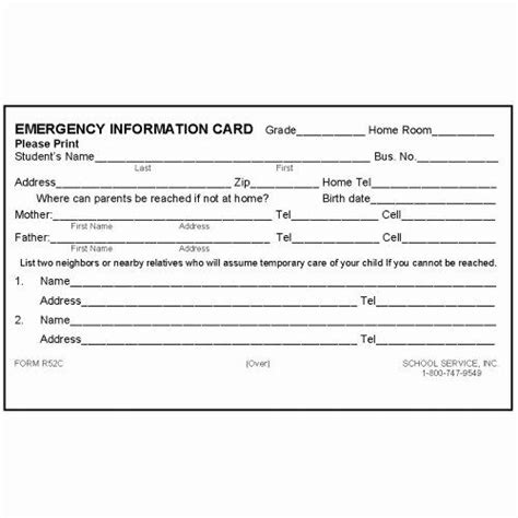 info card template beautiful rc rolodex emergency