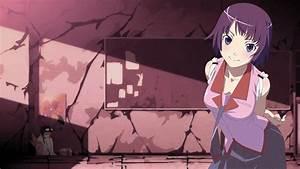 Wallpaper, Illustration, Monogatari, Series, Anime, Girls, Short, Hair, Purple, Hair, Cartoon