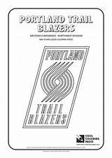 Coloring Nba Pages Blazers Basketball Logos Portland Trail Teams Cool Team Bucks Trailblazers sketch template