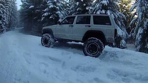 jeep xj offroad  snow    oregon youtube