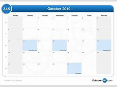 October 2019 Calendar PDF calendar month printable
