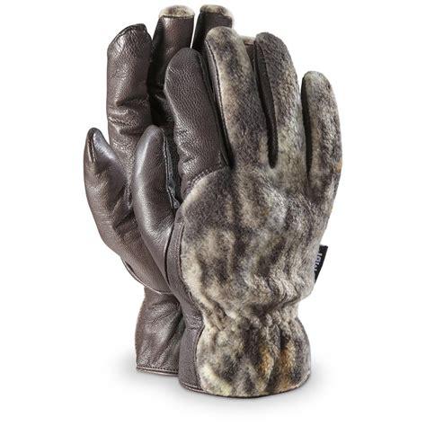 Cowhide Mittens by Kombi Camo Cowhide Malden Gloves Mossy Oak Up