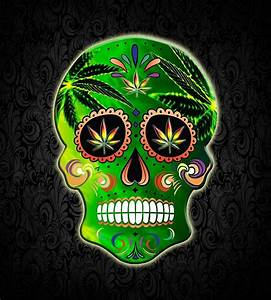 """""""Cool Day of the Dead Weed Sugar Skull """" by TsaoDesign"""