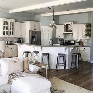 25 best ideas about open concept kitchen on pinterest With kitchen colors with white cabinets with large farmhouse wall art