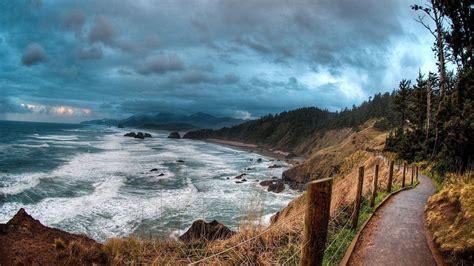 Sea Road Lengthwise Sea Clouds Landscape Wallpaper ...