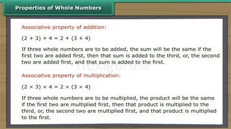 Properties : Properties Of Whole Numbers