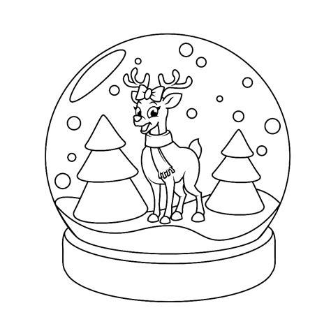Kleurplaat Winter by Leuk Voor Winter Sneeuwbal Met Een Hertje
