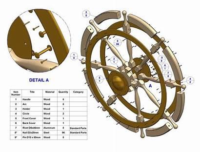 Ship Wheel Plan Parts Plans Drawing Steering