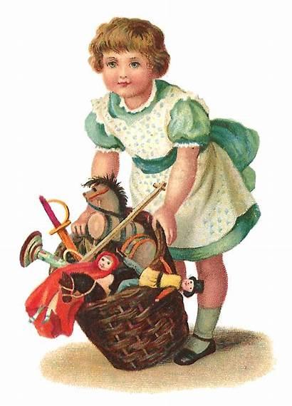 Victorian Toys Antique Basket Graphic Xmas Scrap