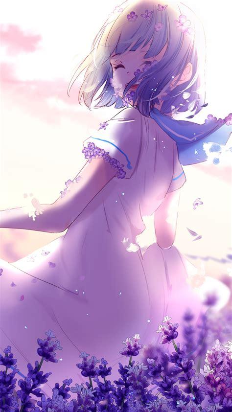 Anime Girl Lavender Purple Flowers 4k Wallpapers Hd