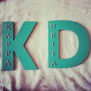 alpha delta pi big blue letters and little white stickers With big sorority letters