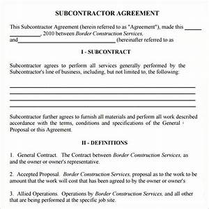 subcontractor agreement 13 free pdf doc download With contract for subcontractors template