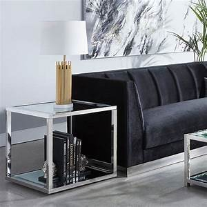 Orren, Ellis, Mher, Glass, Top, Floor, Shelf, End, Table, With, Storage
