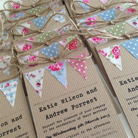 Handmade bunting wedding invitations Handmade