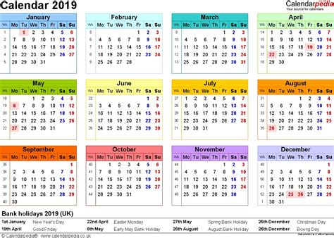Yearly Bank Holidays Calendar 2019 In Uk Template