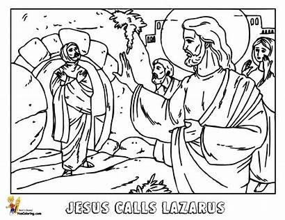 Lazarus Jesus Coloring Pages Bible Printable Raises