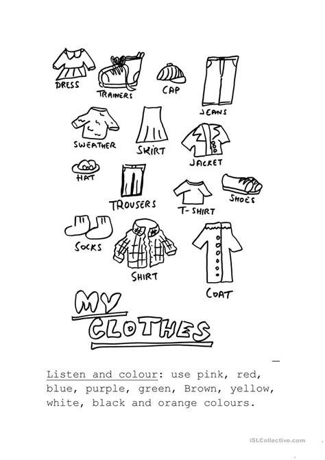 listen  color  clothes worksheet  esl