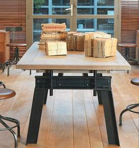 Pied En Fer Forgé : table atelier pied fer forg vazard ~ Teatrodelosmanantiales.com Idées de Décoration