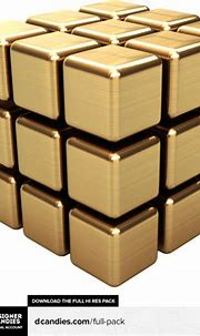 Simple Gold 3d Cube Render By Designercandiesnet (PSD ...