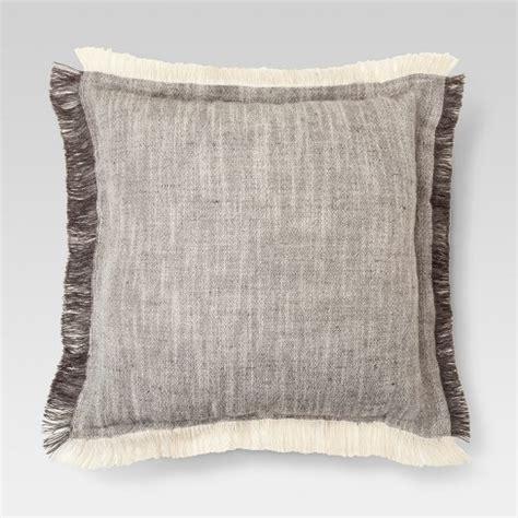 gray throw pillows gray fringe throw pillow 18 quot x18 quot threshold target 6436