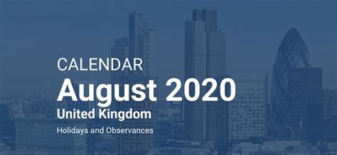 august  calendar united kingdom