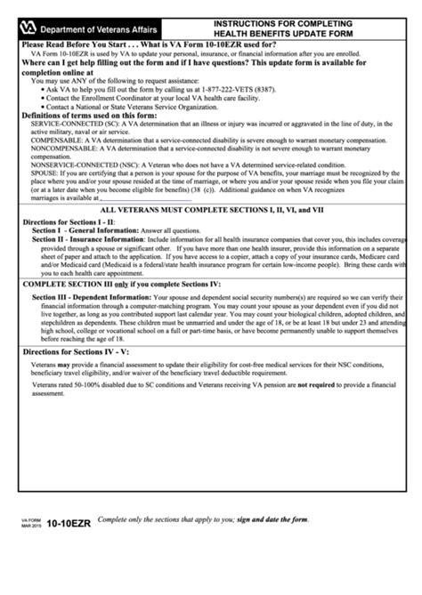 fillable va form 10 10ezr health benefits update form