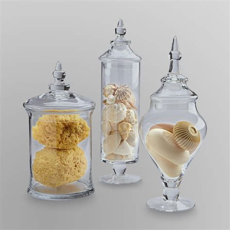 essential home  piece glass apothecary jars