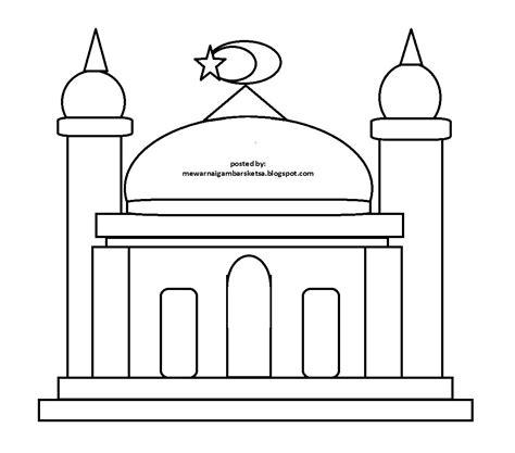 ide 20 mewarnai gambar masjid untuk anak sd