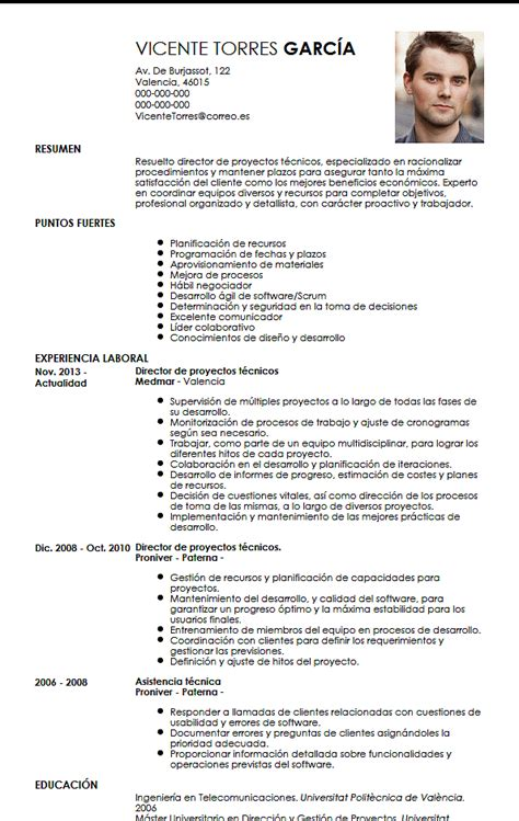 Curriculum Vitae Exle by Modelo Cv Director De Proyectos T 233 Cnicos Livecareer