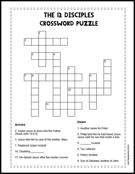 the 12 disciples crossword puzzle free bible