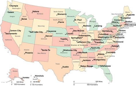 United States Capital Cities Map