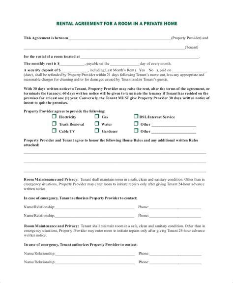 room rental agreement samples   ms word