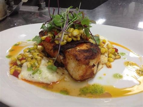 salsa grouper topped pepper roasted corn jalapeno prosciutto grits buttery blackened wrapped jalapeno cilantro