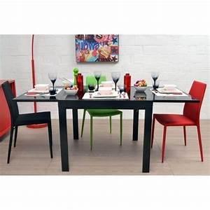 Table En Verre Pas Cher : exit table extensible noire 90 180cm en verre achat ~ Teatrodelosmanantiales.com Idées de Décoration