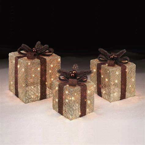 set of 3 copper and gold light up presents