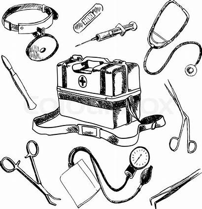 Doctor Drawing Medical Sketch Tools Stethoscope Vector