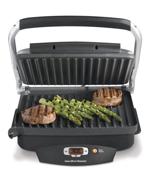 indoor grill amazon com hamilton beach 25331 super sear 100 square inch nonstick indoor searing grill