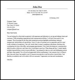 professional front desk receptionist cover letter sle