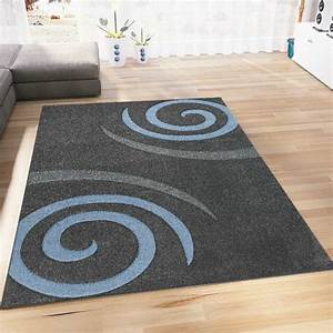Blau Grau Farbe : moderner designer teppich farbe blau grau kreisel muster hoch tief konturen ebay ~ Eleganceandgraceweddings.com Haus und Dekorationen