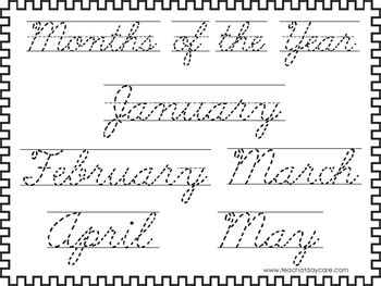 2 cursive trace the months of the year worksheets kdg 2nd