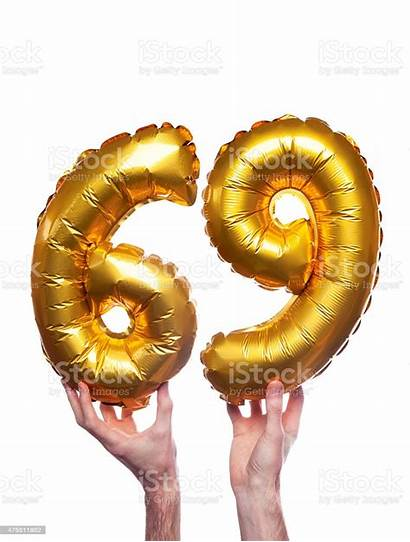 69 Number Gold Balloons Istock Istockphoto
