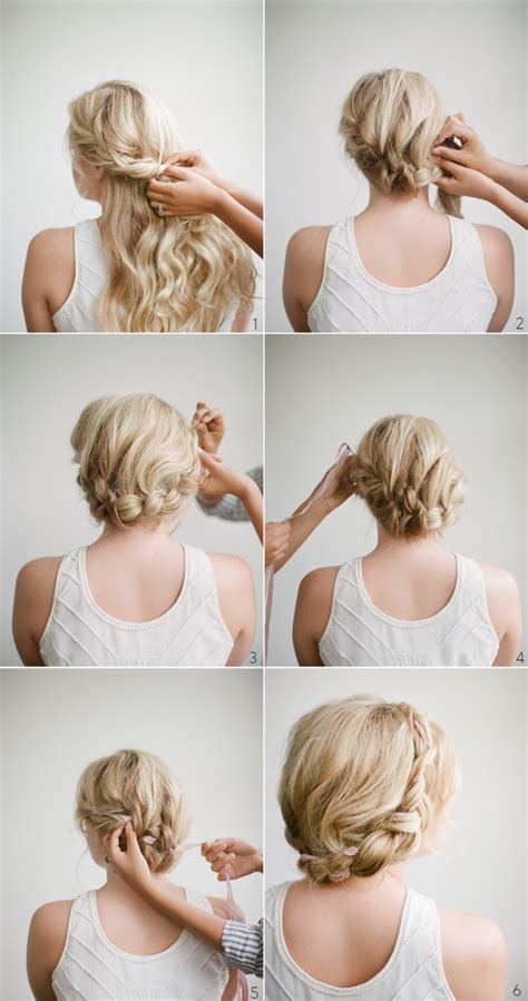 diy halo braid tutorial with frou frou ribbon once wed