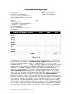 Equipment Rental Agreement Template