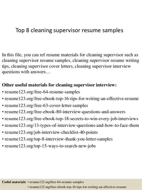 resume for janitorial supervisor top 8 cleaning supervisor resume sles