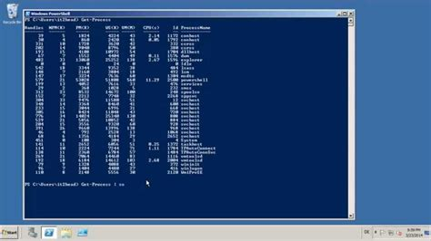 processes sorted  cpu usage  powershell